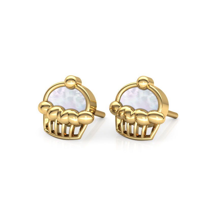Cupcake Mother of Pearl Stud Earrings