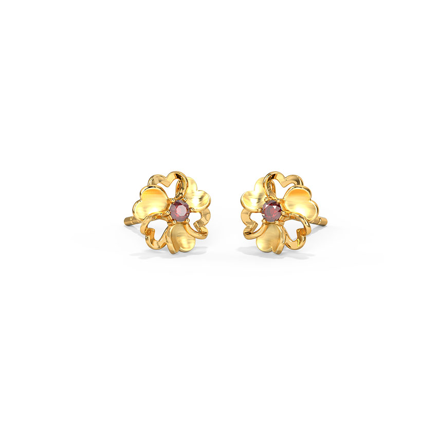 Floral Heart Stud Earrings