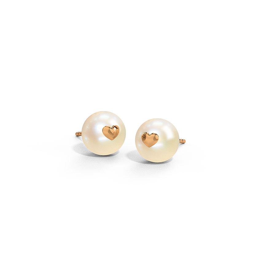 Gold Earrings 14 Karat Rose Gold Pearl Heart Gemstone Stud Earrings