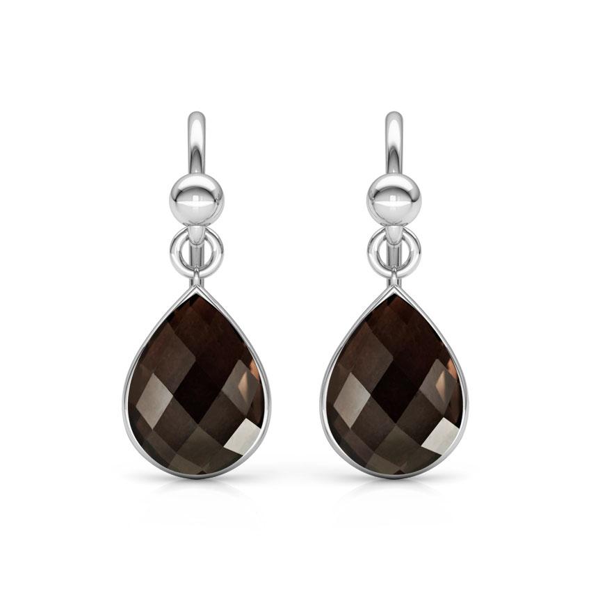 Gold Earrings 14 Karat White Gold Classic Onyx Gemstone Drop Earrings