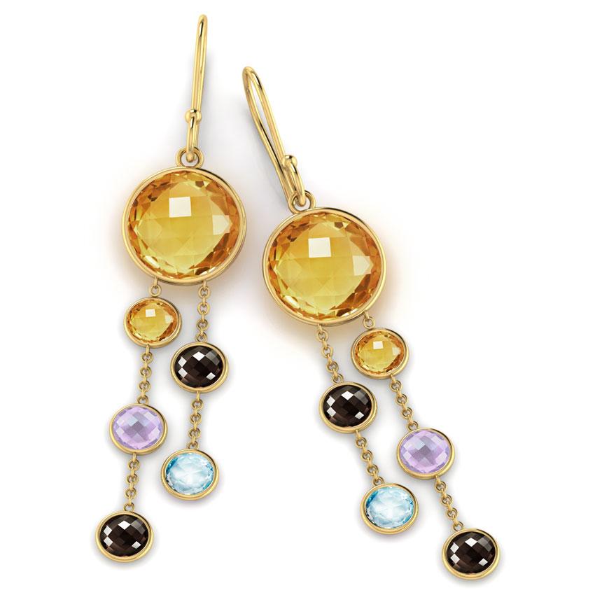 Orb Gemstone Drop Earrings