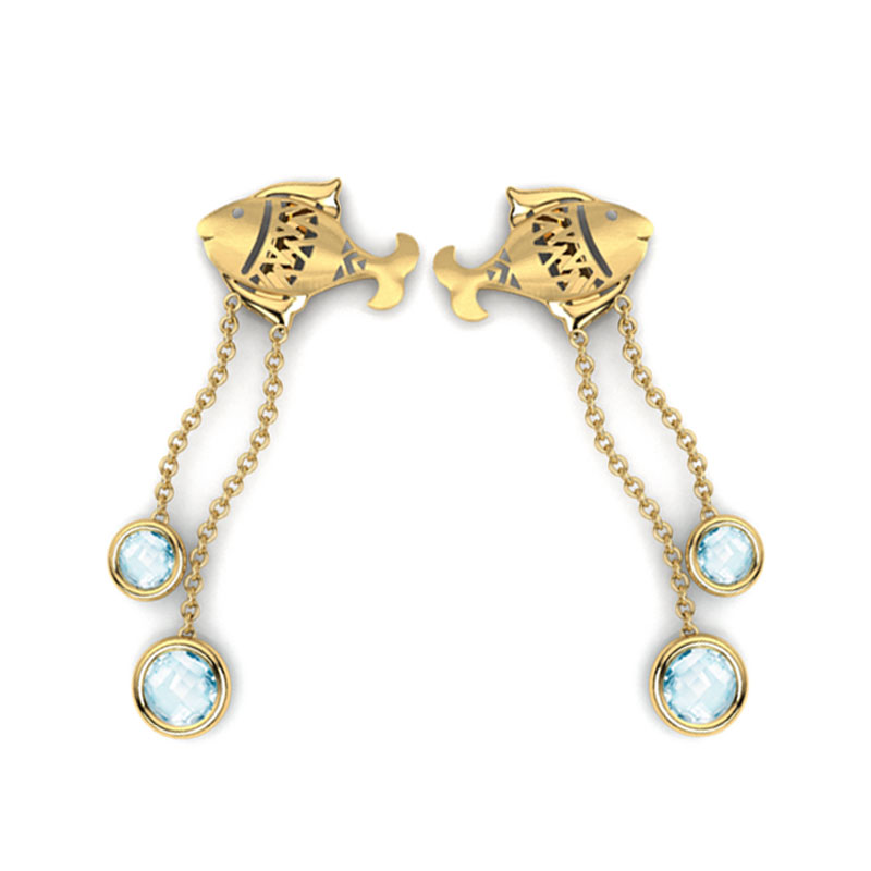 Matsya Topaz Drop Earrings