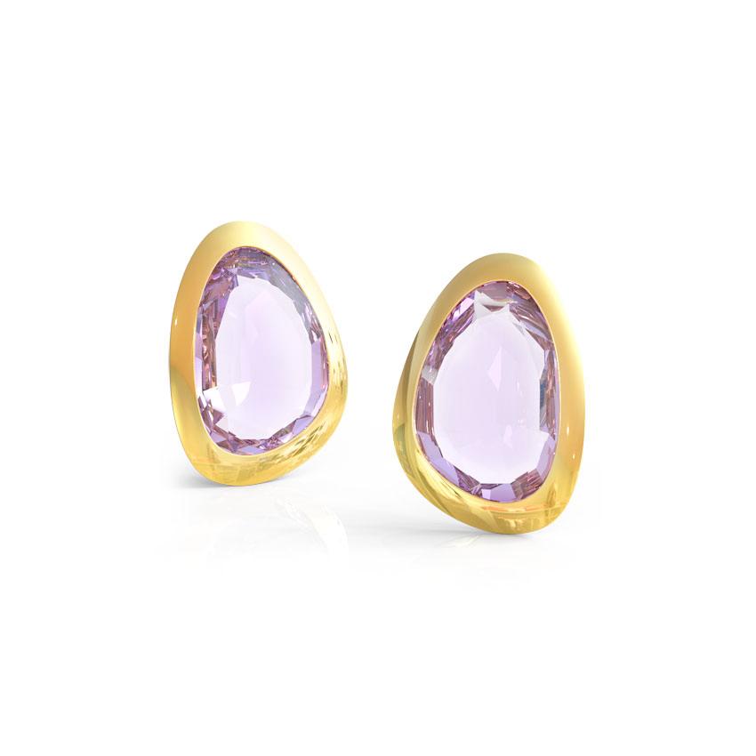 Amethyst Pear Stud Earrings