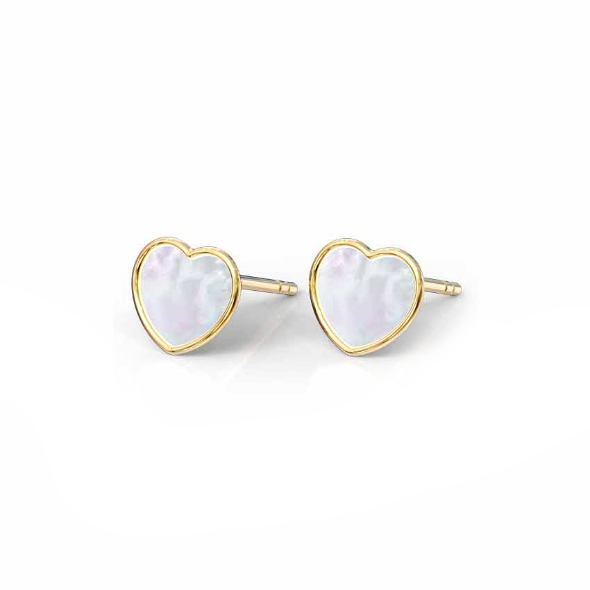 Heart Mother of Pearl Stud Earrings