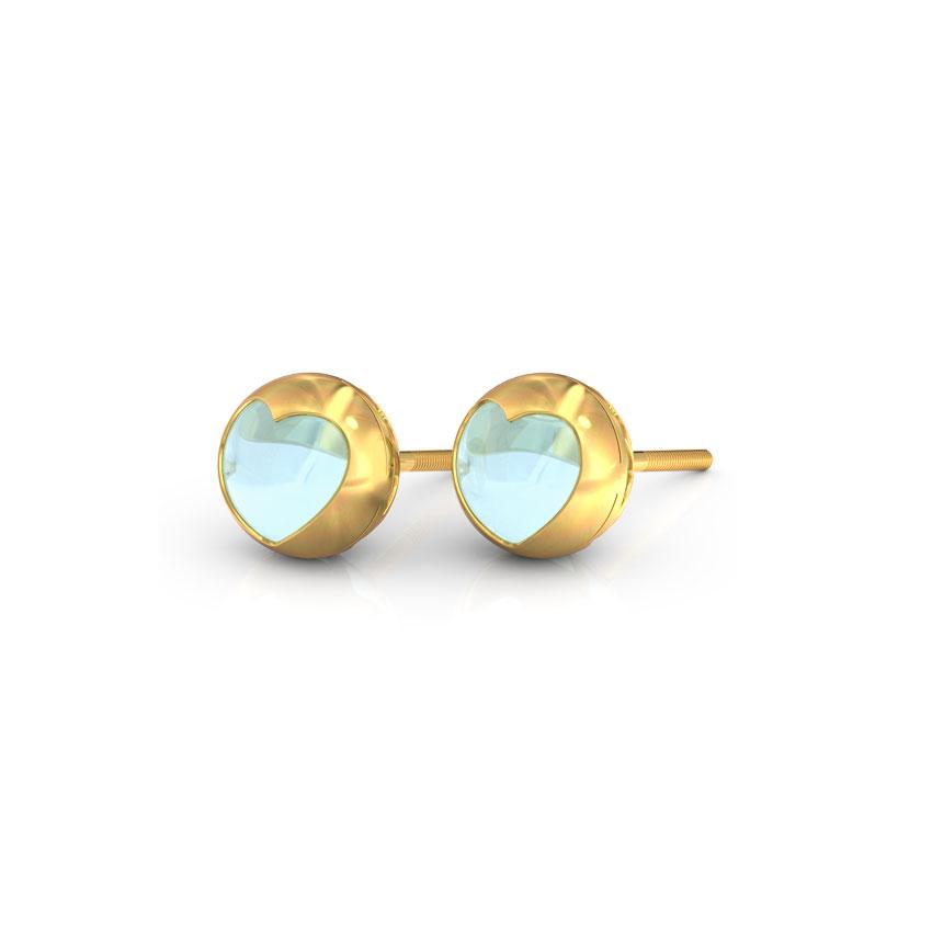 Topaz Orb Heart Stud Earrings