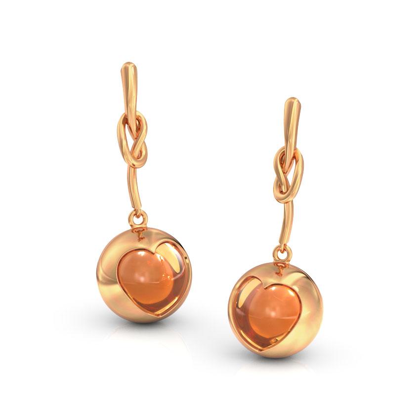 Citrine Orb Heart Drop Earrings