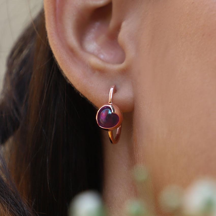 Amethyst Orb Hoop Earrings