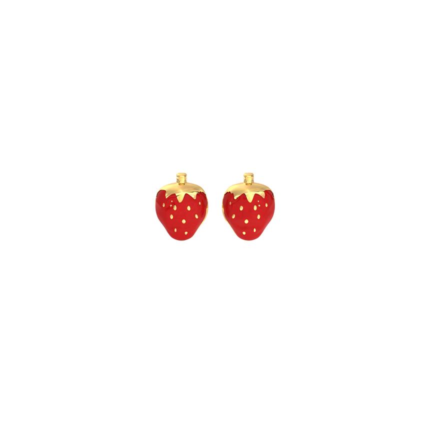 Gold Earrings 14 Karat Yellow Gold Very Berry Kids' Stud Gold Earrings