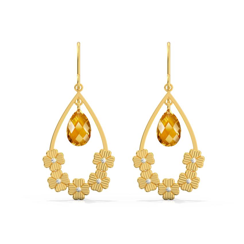 Floral Pear Drop Earrings