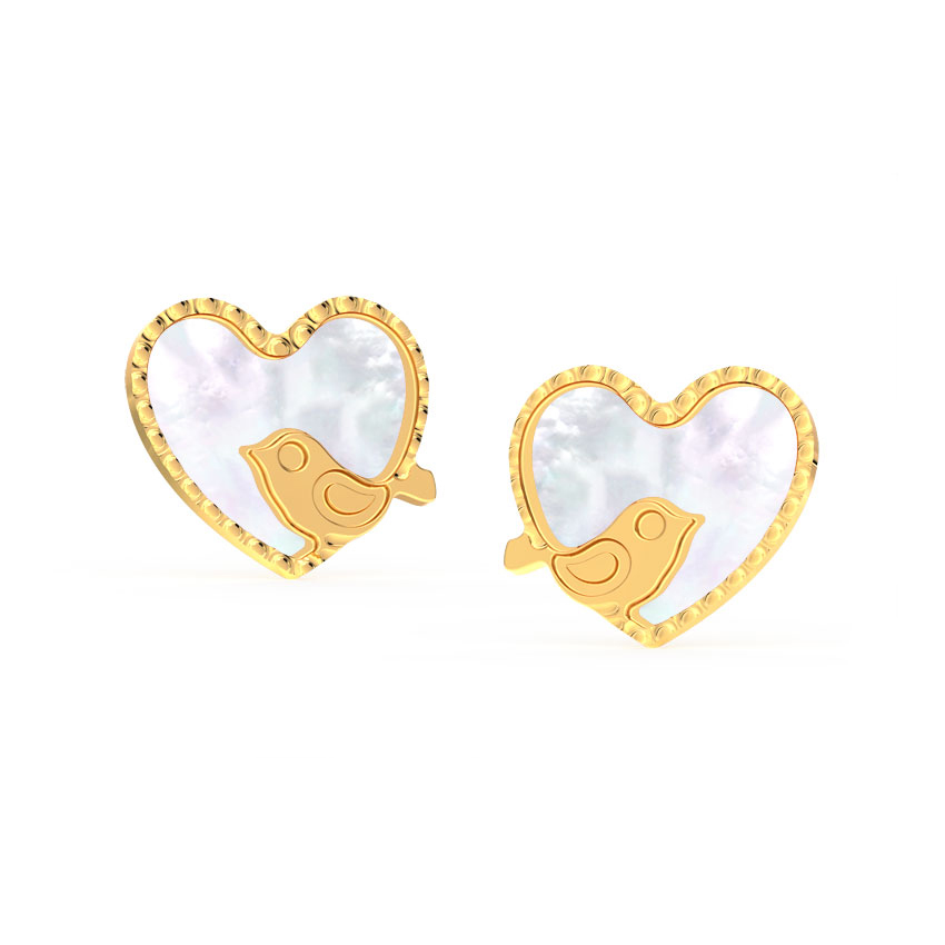 Chirpy Love Mother of Pearl Stud Earrings