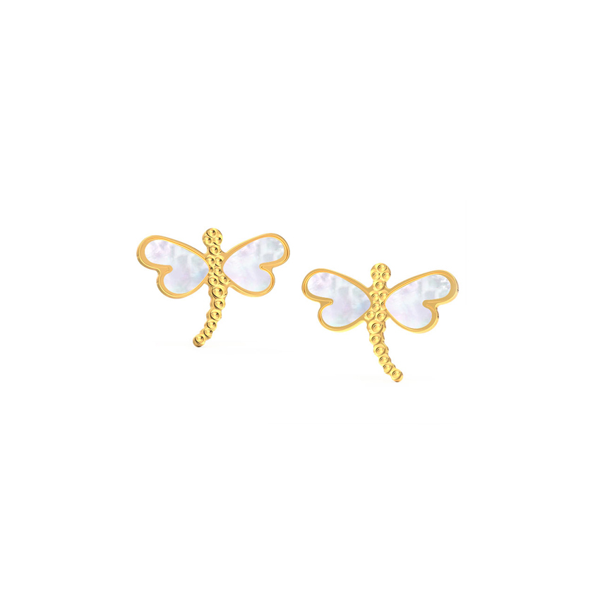 Dragonfly Mother of Pearl Stud Earrings