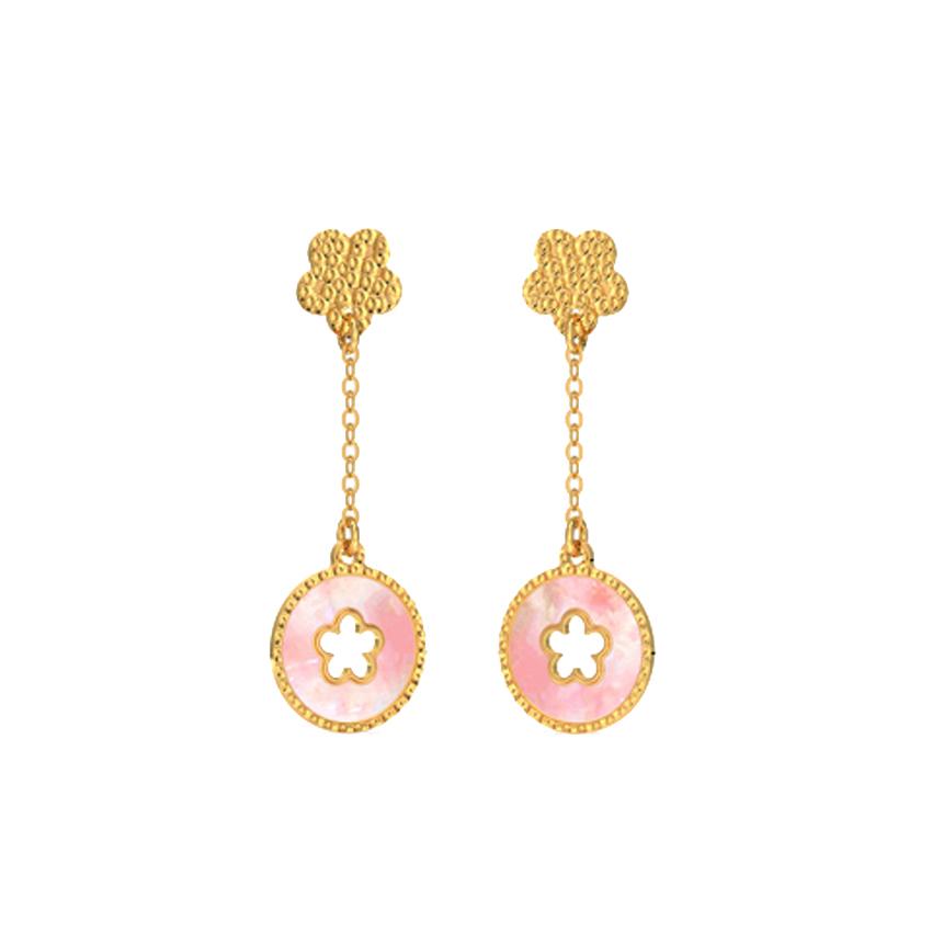 Floral Mother of Pearl Drop Earrings