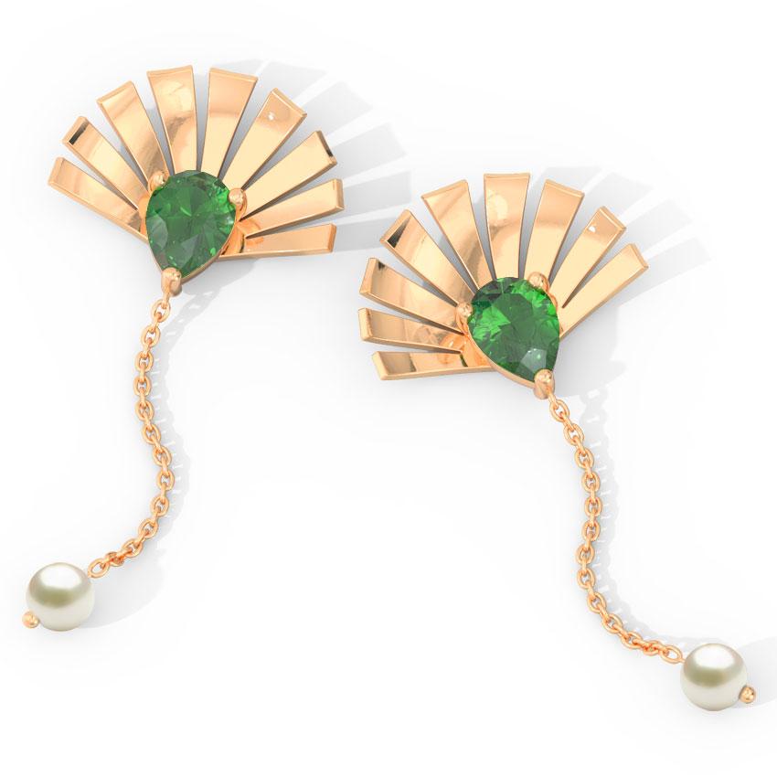 Gold Earrings 14 Karat Rose Gold Royal Crown Gemstone Drop Earrings