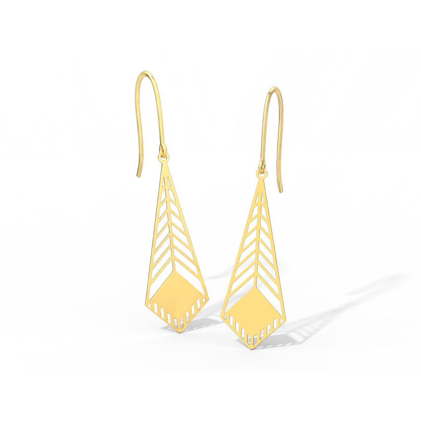 Gold Earrings 18 Karat Yellow Gold Heidi Cutout Gold Drop Earrings