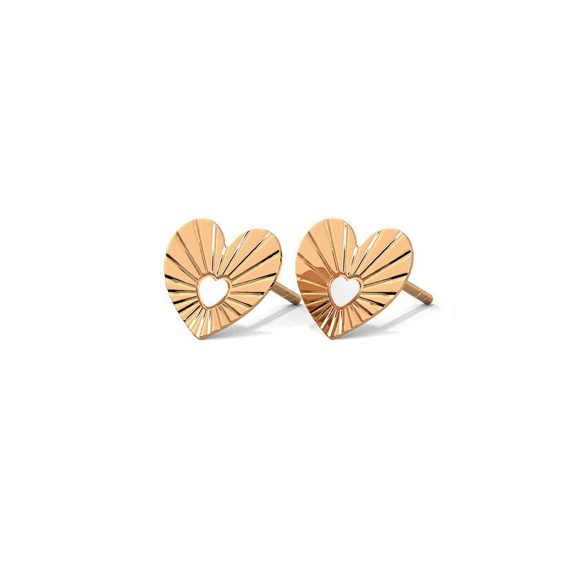 Gold Earrings 14 Karat Rose Gold Forever Love Gold Stud Earrings