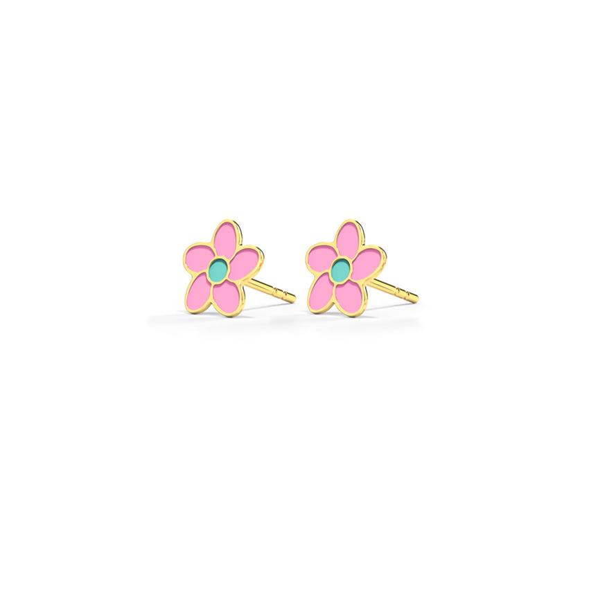 Gold Earrings 14 Karat Yellow Gold Pretty in Pink Kids' Gold Earrings