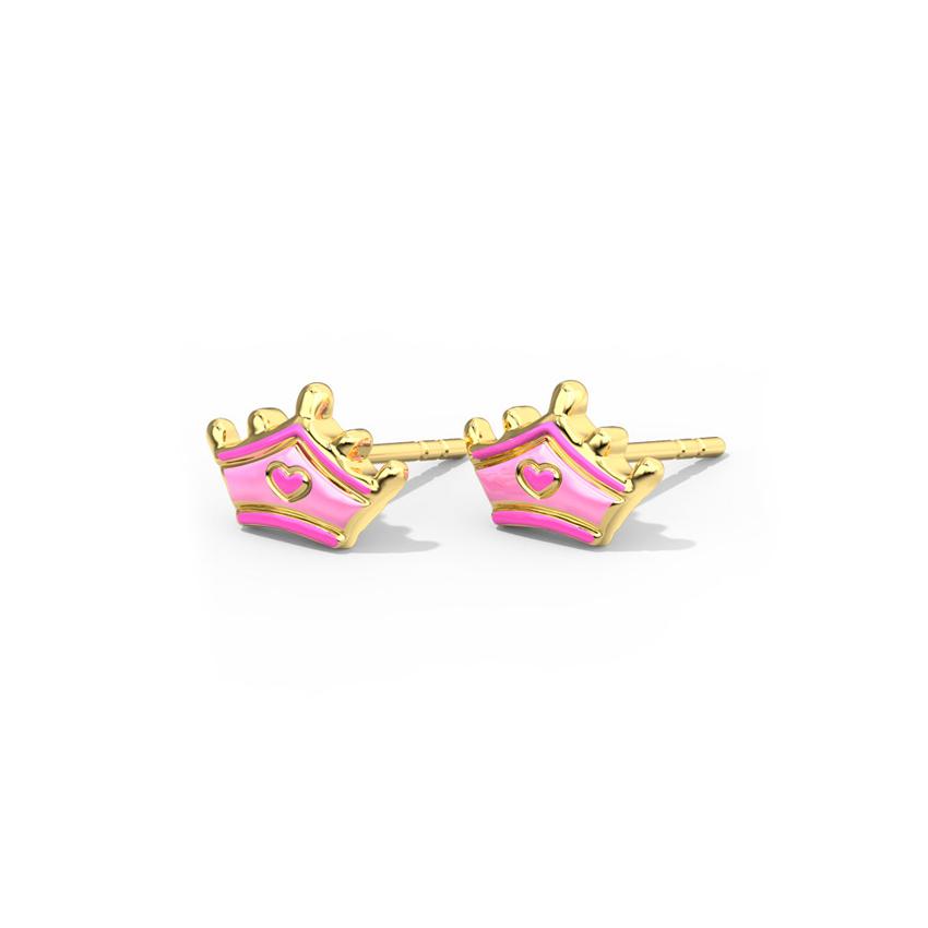 Gold Earrings 14 Karat Yellow Gold Blush Tiara Kids' Gold Earrings