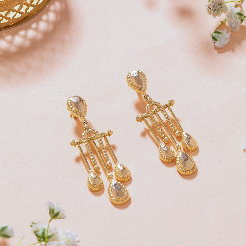 Gold Earrings 18 Karat Yellow Gold Tarangini Gold Drop Earrings