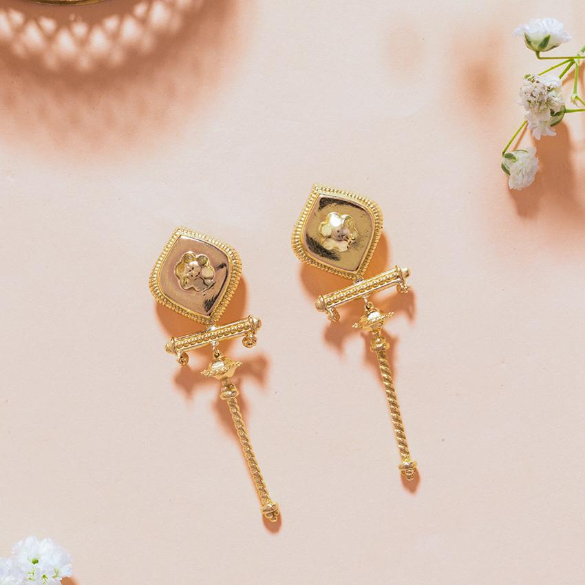 Gold Earrings 18 Karat Yellow Gold Kalki Gold Drop Earrings