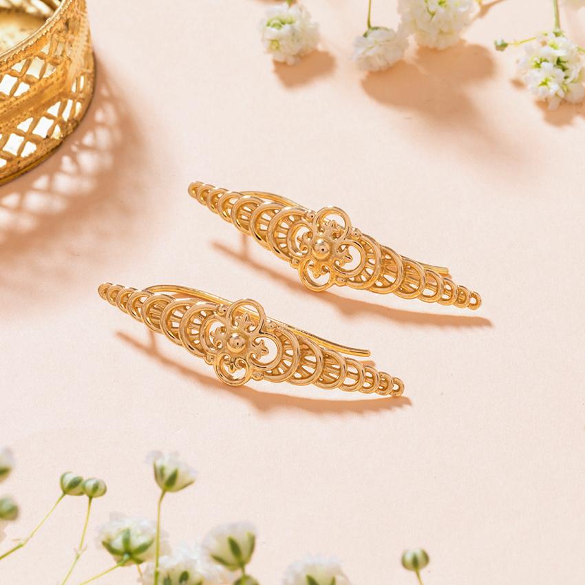Gold Earrings 18 Karat Yellow Gold Yuvika Gold Drop Earrings