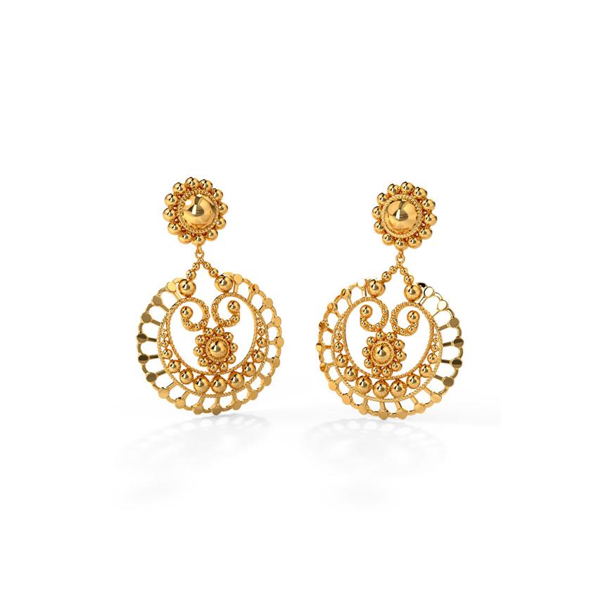 Gold Earrings 18 Karat Yellow Gold Prisha Gold Drop Earrings