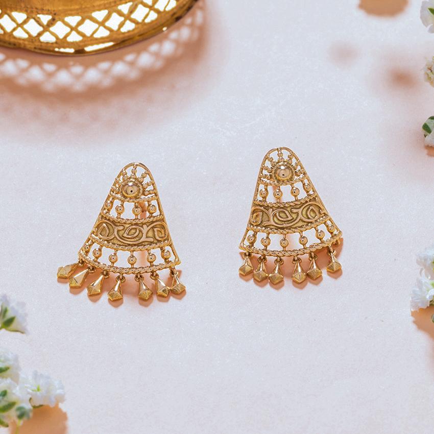 Gold Earrings 18 Karat Yellow Gold Saniya Gold Stud Earrings