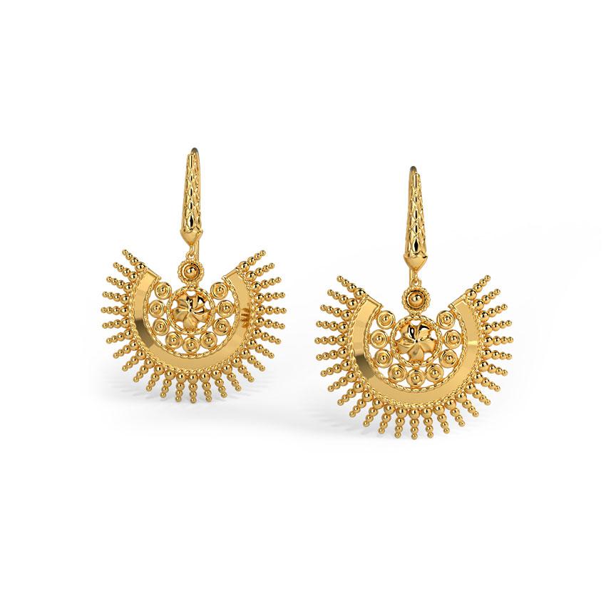 Gold Earrings 18 Karat Yellow Gold Chhavi Gold Drop Earrings