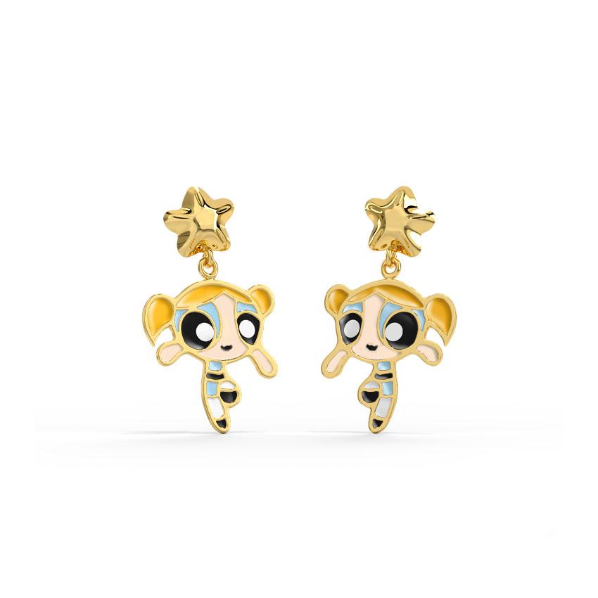 Gold Earrings 14 Karat Yellow Gold Fleur Bubbles Kids' Gold Earrings
