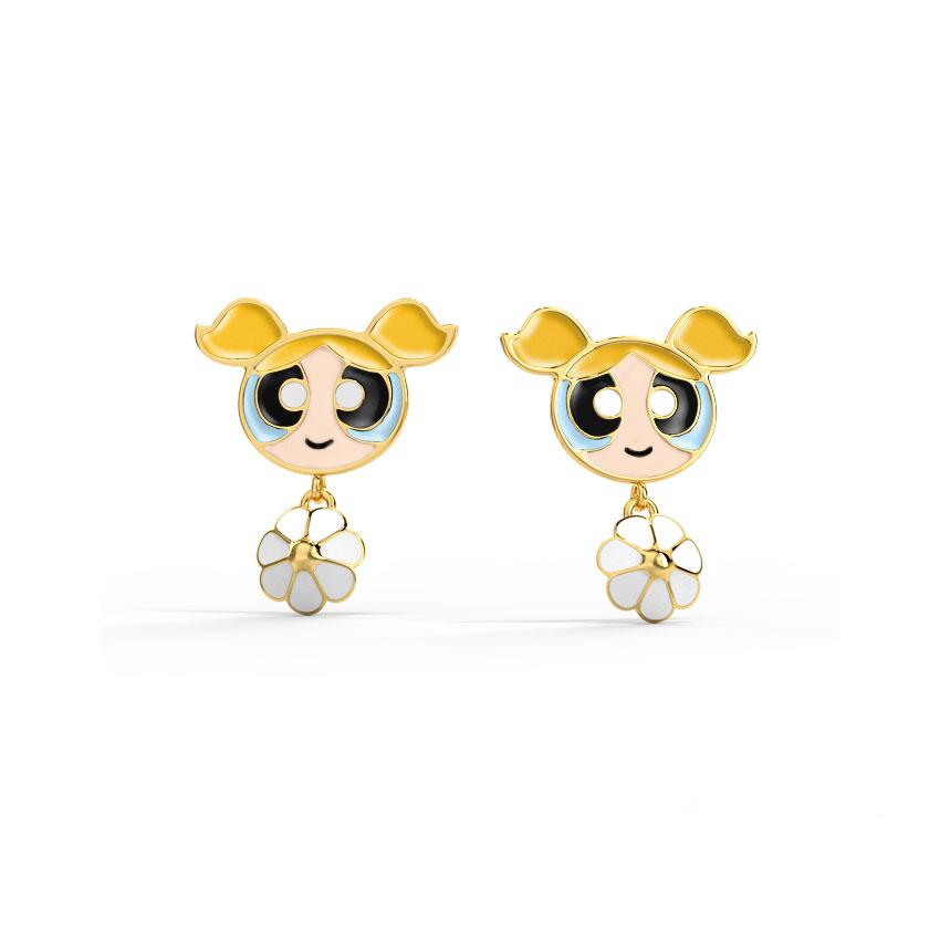 Gold Earrings 14 Karat Yellow Gold Floret Bubbles Kids' Gold Earrings