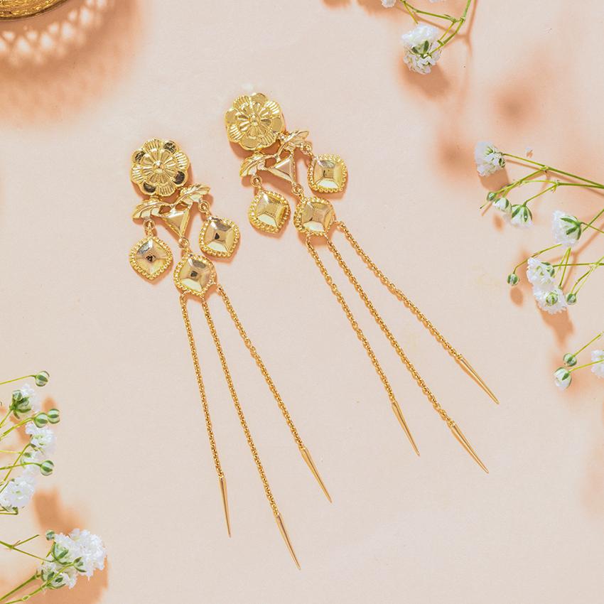 Gold Earrings 18 Karat Yellow Gold Naina Gold Drop Earrings