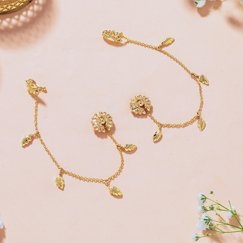 Gold Earrings 18 Karat Yellow Gold Ananya Gold Chain Ear Cuffs