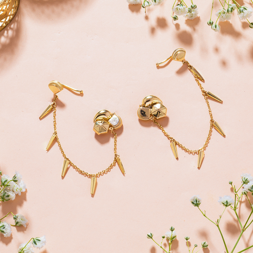 Gold Earrings 18 Karat Yellow Gold Samaira Gold Chain Ear Cuffs