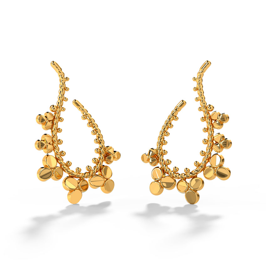 Gold Earrings 18 Karat Yellow Gold Aadhya Gold Hoop Earrings