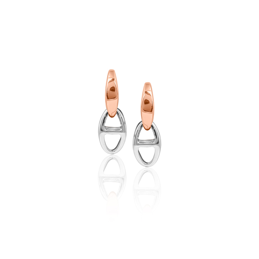 Platinum,Gold Earrings Platinum 950, 18 Karat Two Tone Gold Interlinked Platinum Drop Earrings