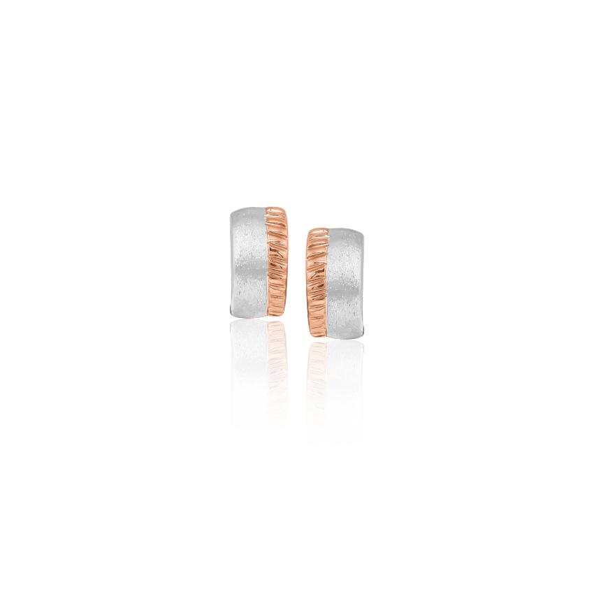 Platinum,Gold Earrings Platinum 950, 18 Karat Two Tone Gold Stylish Quad Platinum Stud Earrings