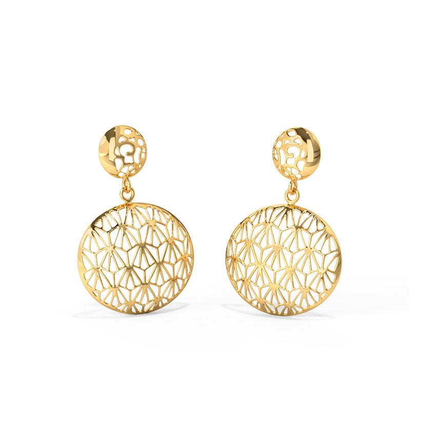 Gold Earrings 18 Karat Yellow Gold Alba Cutout Gold Drop Earrings