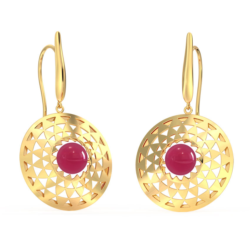 Gold,Gemstone Earrings 18 Karat Rose Gold Orb Ornate Gemstone Drop Earrings