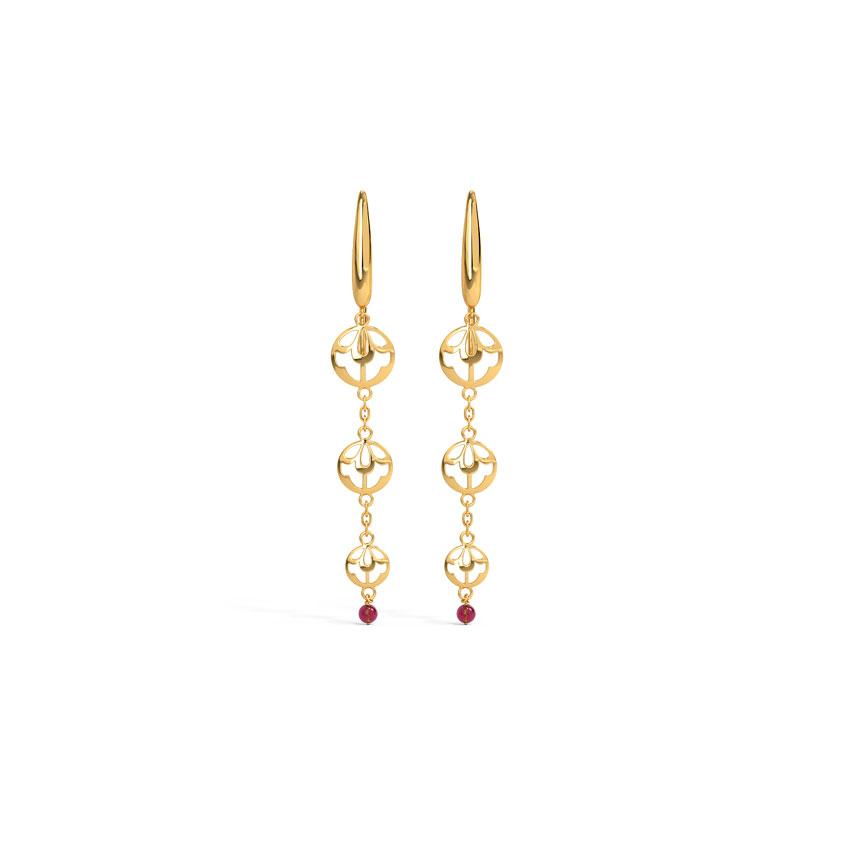 Gold,Gemstone Earrings 14 Karat Yellow Gold Prisha Cutout Gemstone Drop Earrings
