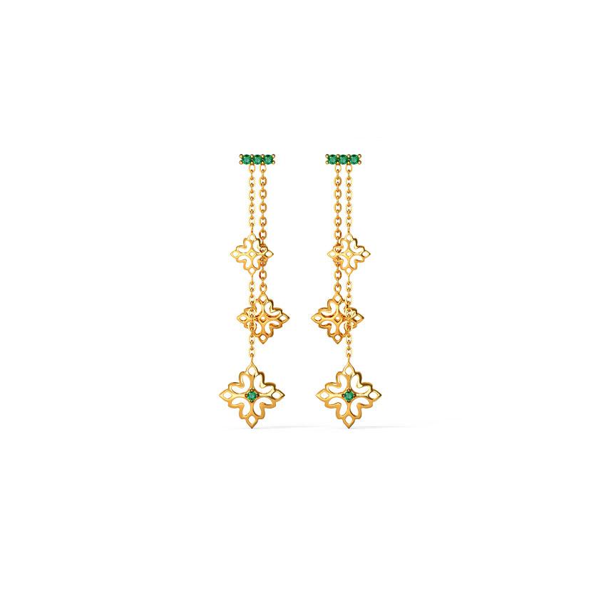 Gold,Gemstone Earrings 14 Karat Yellow Gold Nitara Cutout Gemstone Drop Earrings