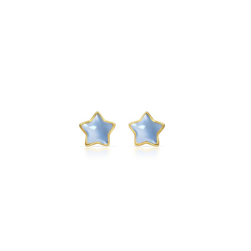 Gold Earrings 14 Karat Yellow Gold Little Star Kids' Gold Earrings