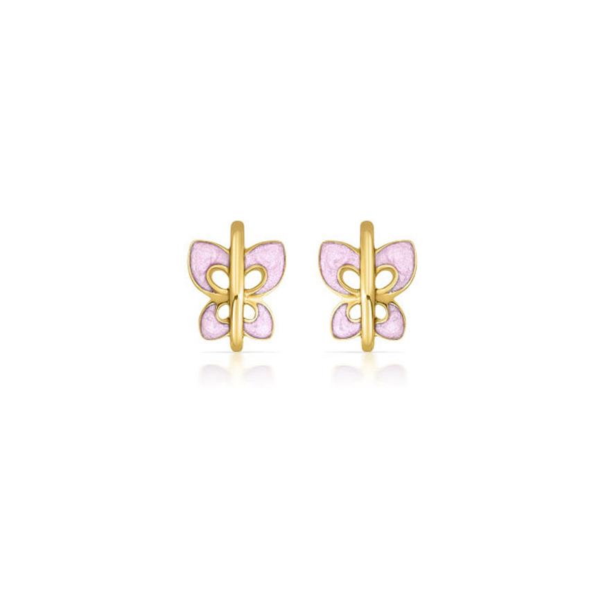 Gold Earrings 14 Karat Rose Gold Colourful Butterfly Kids' Gold Earrings