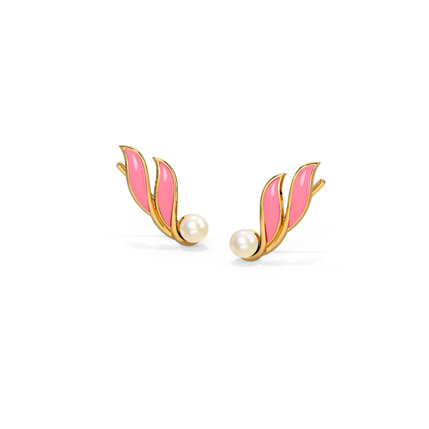 Gold,Gemstone Earrings 14 Karat Yellow Gold Pearly Petals Gemstone Ear Cuffs