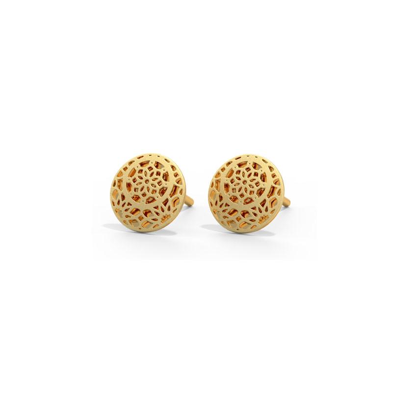 Gold Earrings 14 Karat Yellow Gold Baroque Cutout Gold Stud Earrings