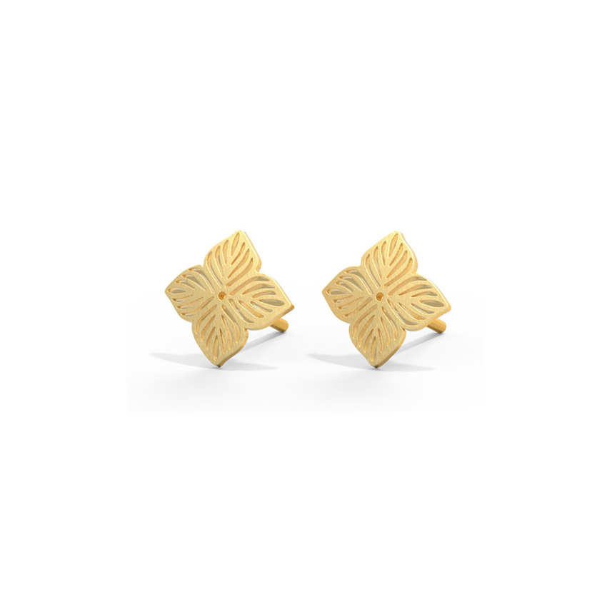 Gold Earrings 14 Karat Yellow Gold Floral Cutout Gold Stud Earrings