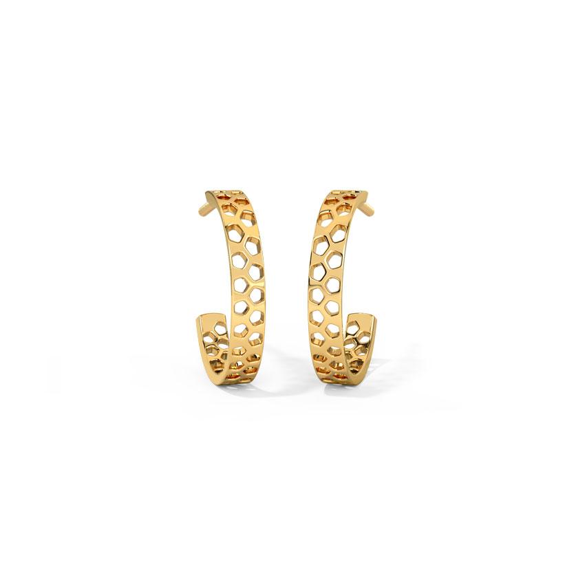 Hexagon Cutout Hoop Earrings