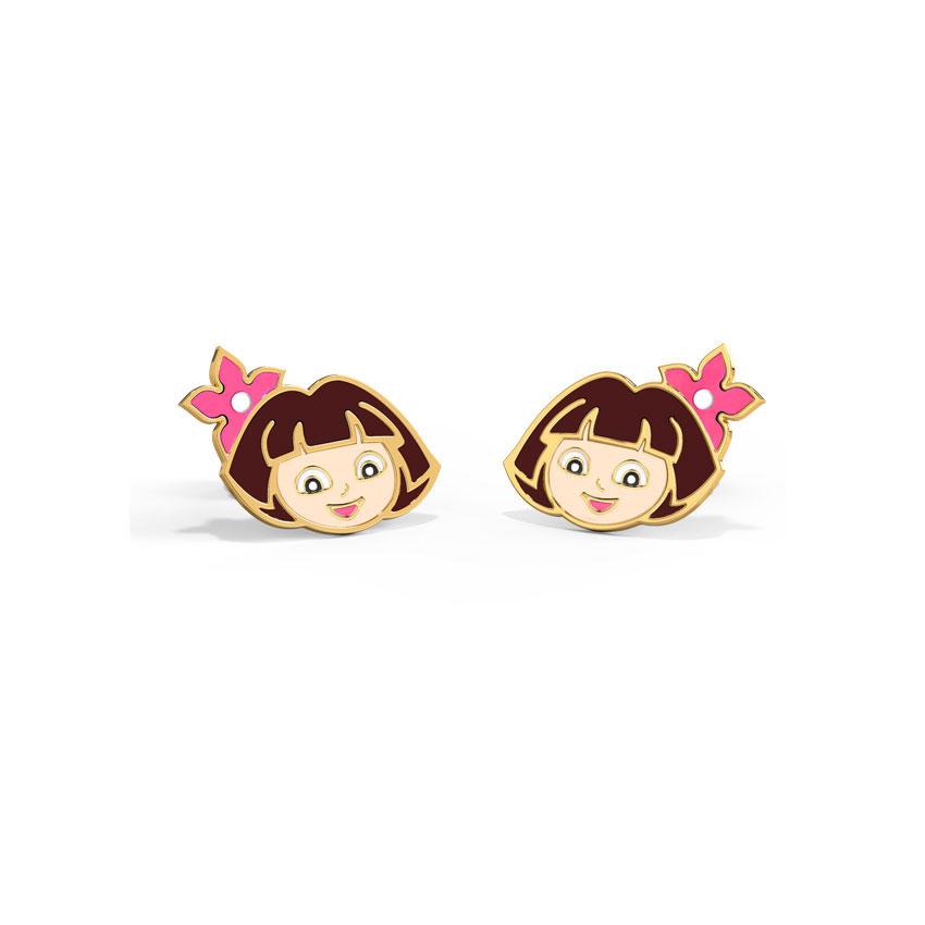Gold Earrings 14 Karat Yellow Gold Floral Dora The Explorer Kids' Gold Earrings