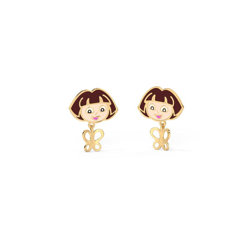 Gold Earrings 14 Karat Yellow Gold Dora The Explorer's Butterfly Kids' Gold Earrings
