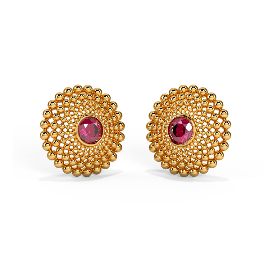 Gold,Gemstone Earrings 18 Karat Yellow Gold Statement Earrings by Ayushi