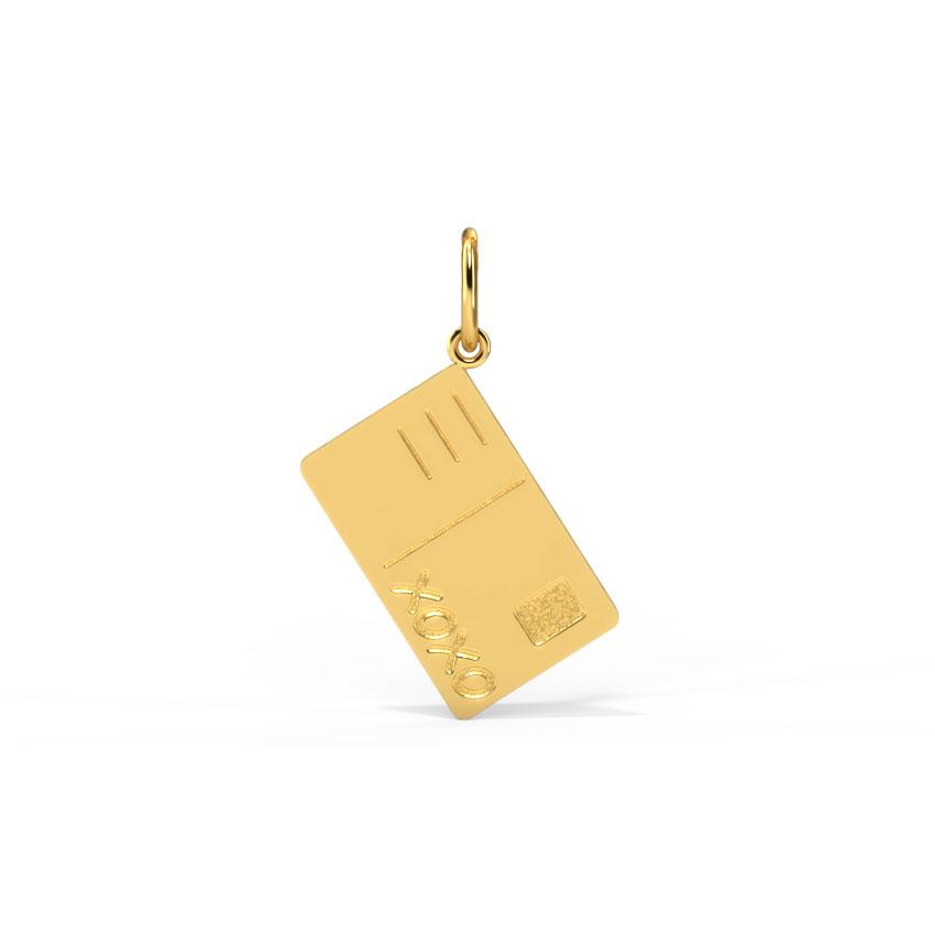 Gold Charms 14 Karat Yellow Gold Postcard Gold Charm