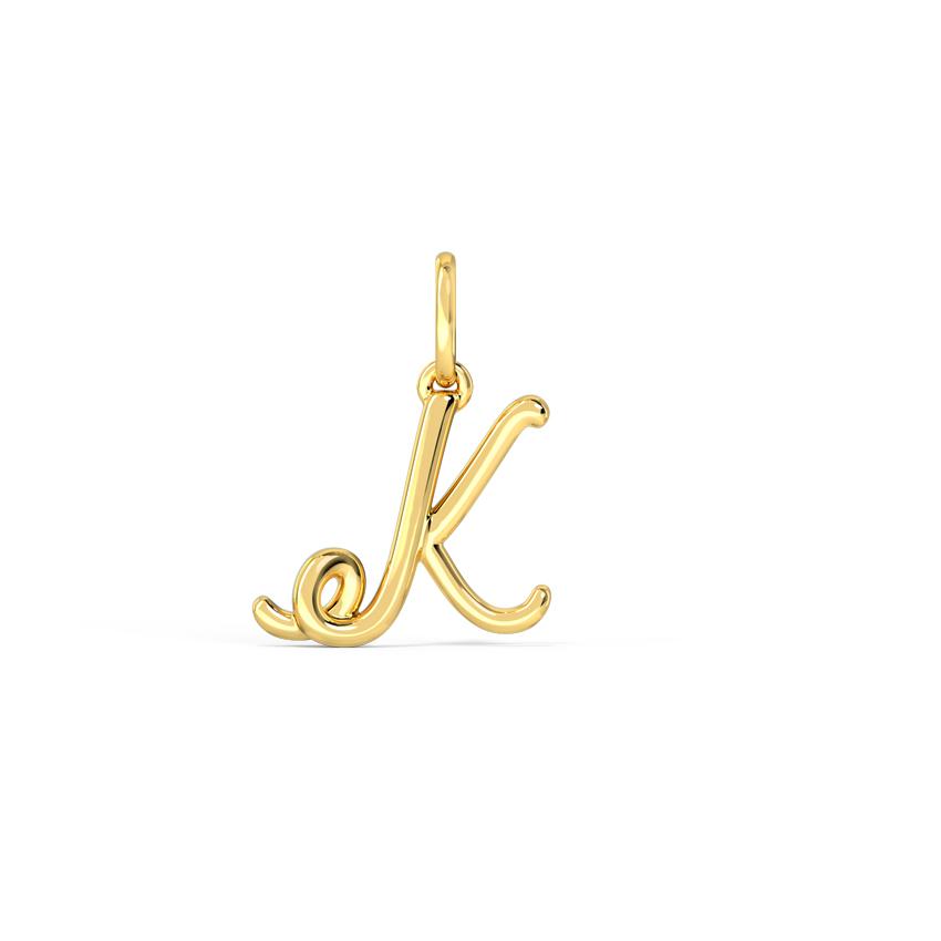 Gold Charms 14 Karat Yellow Gold Alphabet K Cursive Gold Charm